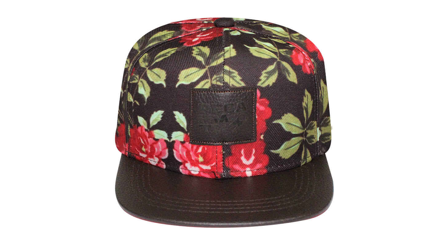 Boné aba reta floral marrom - Hezzitu fábrica de bonés aba reta 942feea954644