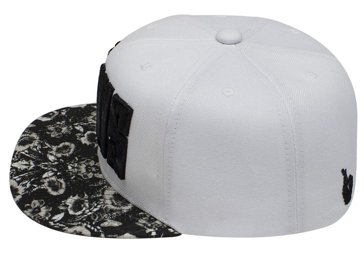Boné snapback aba reta branco-Lateral. Fábrica de bonés personalizados 100d76538904a