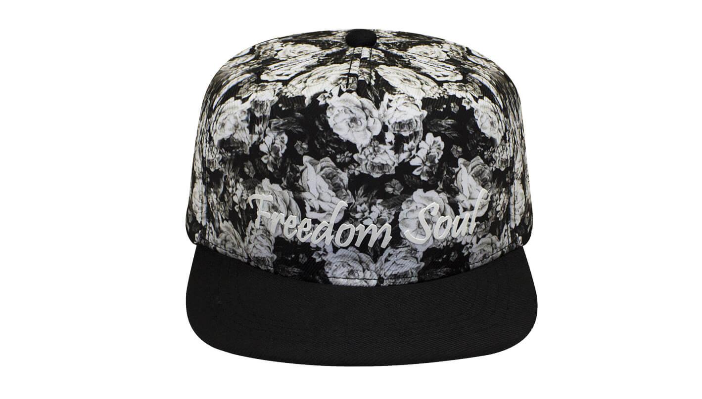 Boné aba reta floral preto - Hezzitu bonés personalizados direto da ... b0b7a50621a4a