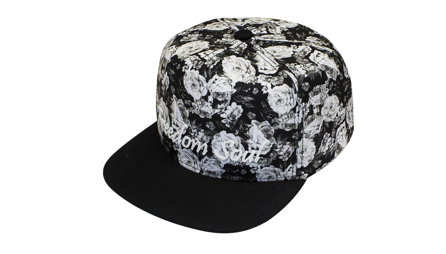 3a8753495e Boné aba reta floral preto - Hezzitu bonés personalizados direto da ...