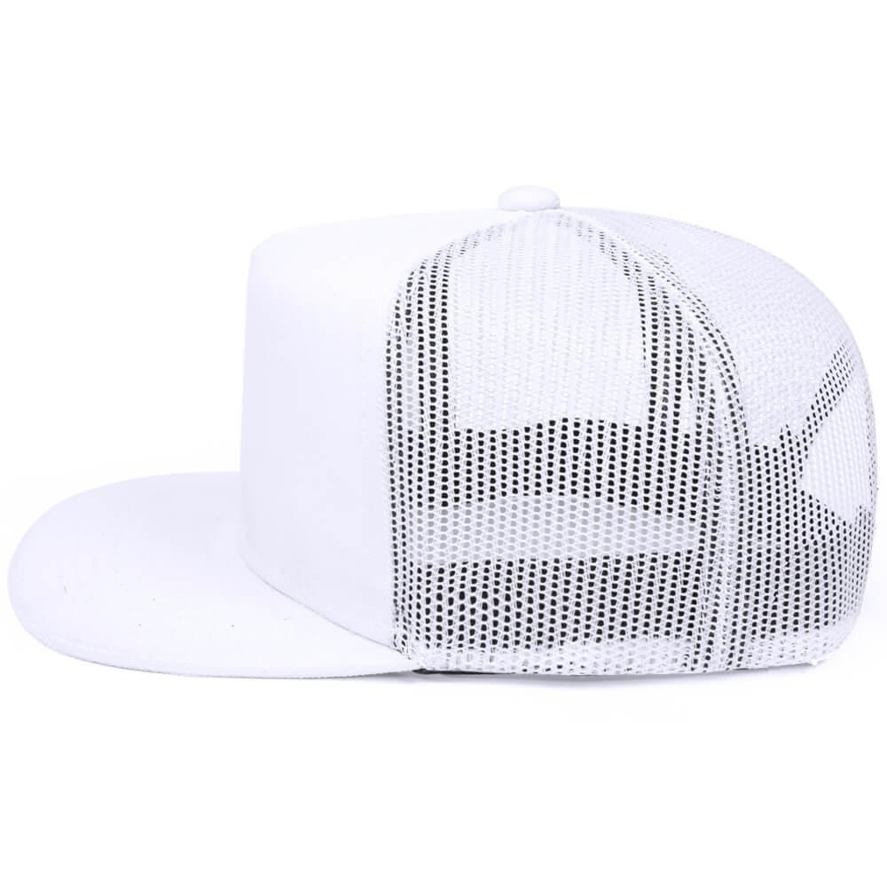 Boné aba reta de tela branco – lateral. Bonés personalizados 6f06299cc59